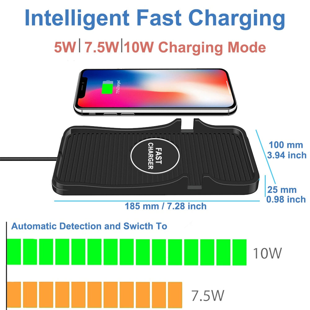 Universal Wireless Car Charger QI Charging Pad, Soft Silicone Mat with GPS Holder Mount for iPhone 8/8Plus Samsung - JustgreenBox
