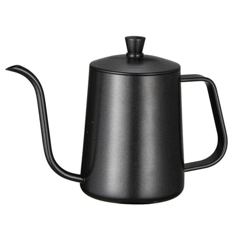 Stainless Steel Mounting Bracket Hand Punch Pot Coffee With Lid Drip Gooseneck Spout Long Mouth Kettle Teapot-600ml - JustgreenBox