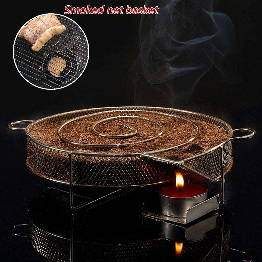 Smoke Generator For BBQ Grill Or Smoker Wood Dust Hot And Cold Smoking Salmon Meat Burn Cooking Stainless Bbq Tools - JustgreenBox