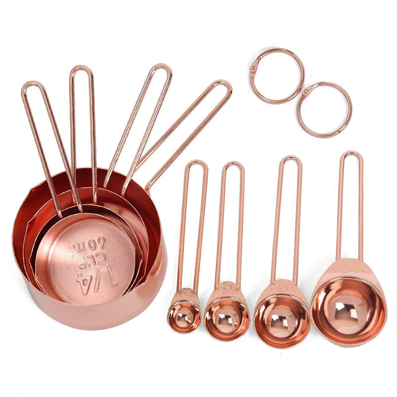 Stainless Steel Measuring Cups and Spoons Set of 8 Engraved Measurements, Pouring Spouts & Mirror Polished for Baking (Rose Gold) - JustgreenBox