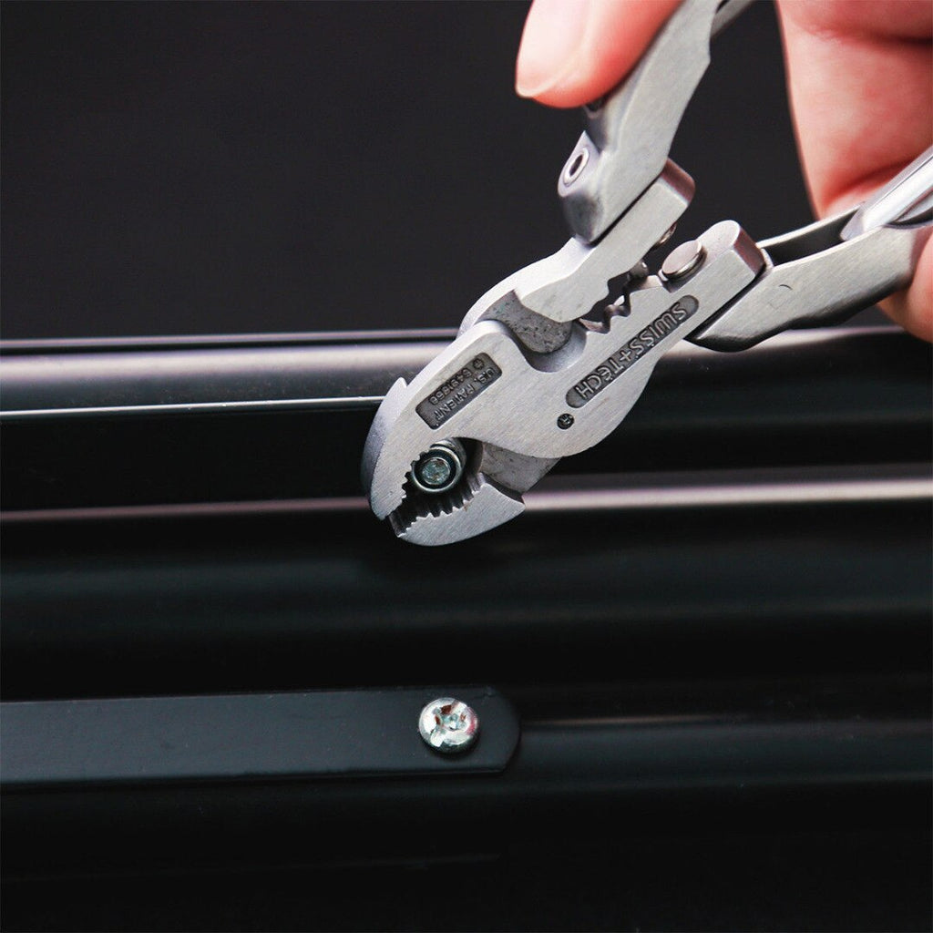 Silver Mini Bent Multifunctional Tool 9 In 1 Multitool Keychain Plier Screwdriver Pocket Tools