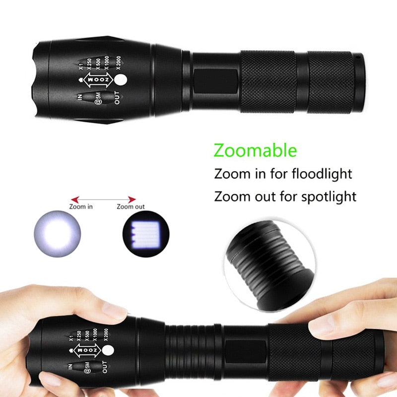T6 LED Handheld Tactical Flash Zoom Torch Light Camping Lamp For 18650 Rechargeable Battery - JustgreenBox