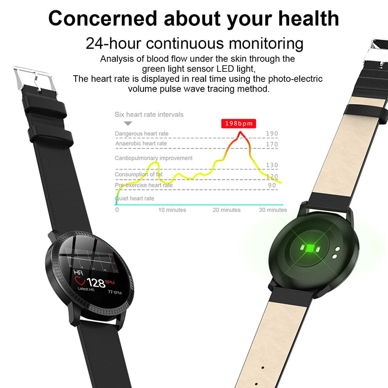 Elegant Smart Heart Rate Blood Pressure Tracker Watch Women 1.22-inch Large Screen Waterproof IP67 For IPhone 7/Xiaomi