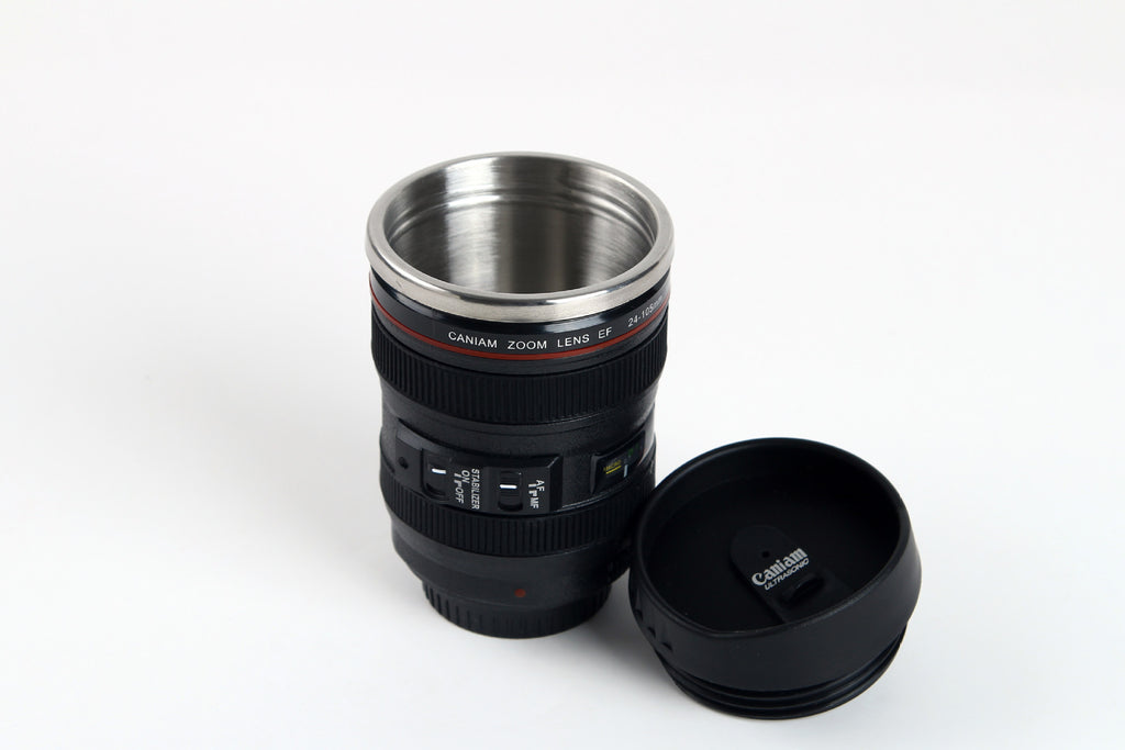 24-105MM Lens Camera Travel Coffee Tea Cup Mug Creative Cup Stainless Steel Brushed Liner Black (Black 400ml) - JustgreenBox