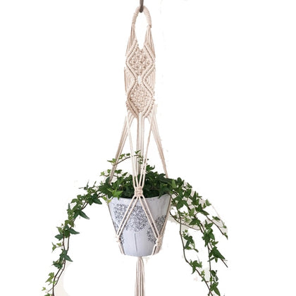 100% Handmade Macrame Plant Hanger Flower /pot For Wall Decoration Countyard Garden - JustgreenBox
