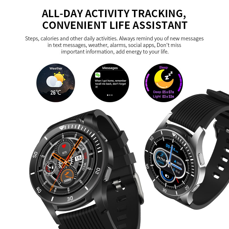 "1.28"" Full Screen Touch Heart Rate Monitor Call Reminder Fitness Smart Watch"