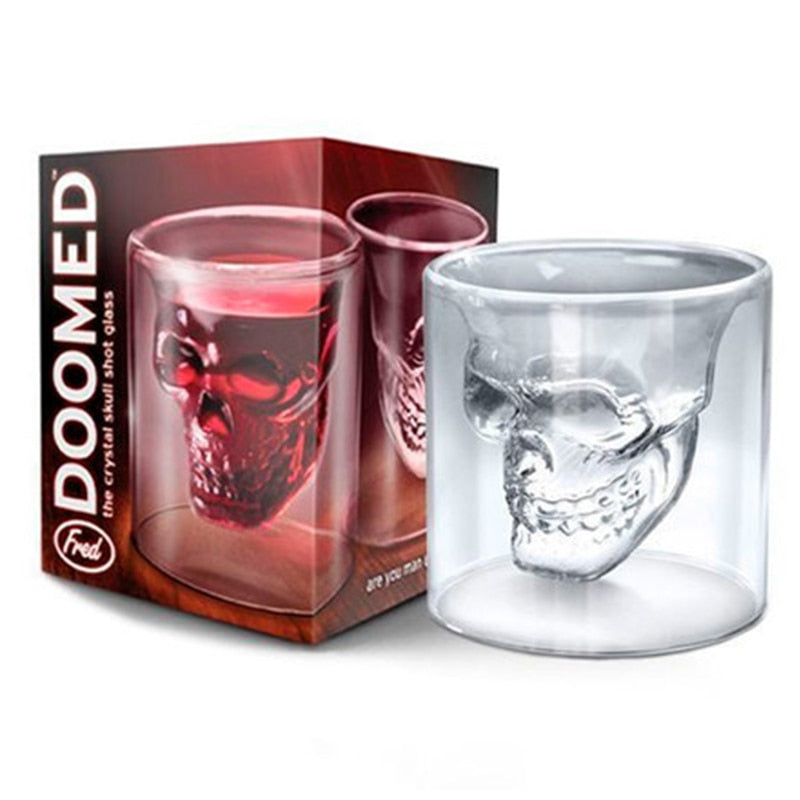Transparent Skull Head Shot Whisky Creative Bar Club Beer Wine Double Wall Glass Coffee Cup Mug - JustgreenBox