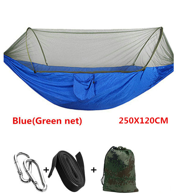 Automatic unfolding hammock ultralight parachute hunting mosquito net double lifting outdoor furniture 250X120CM - JustgreenBox