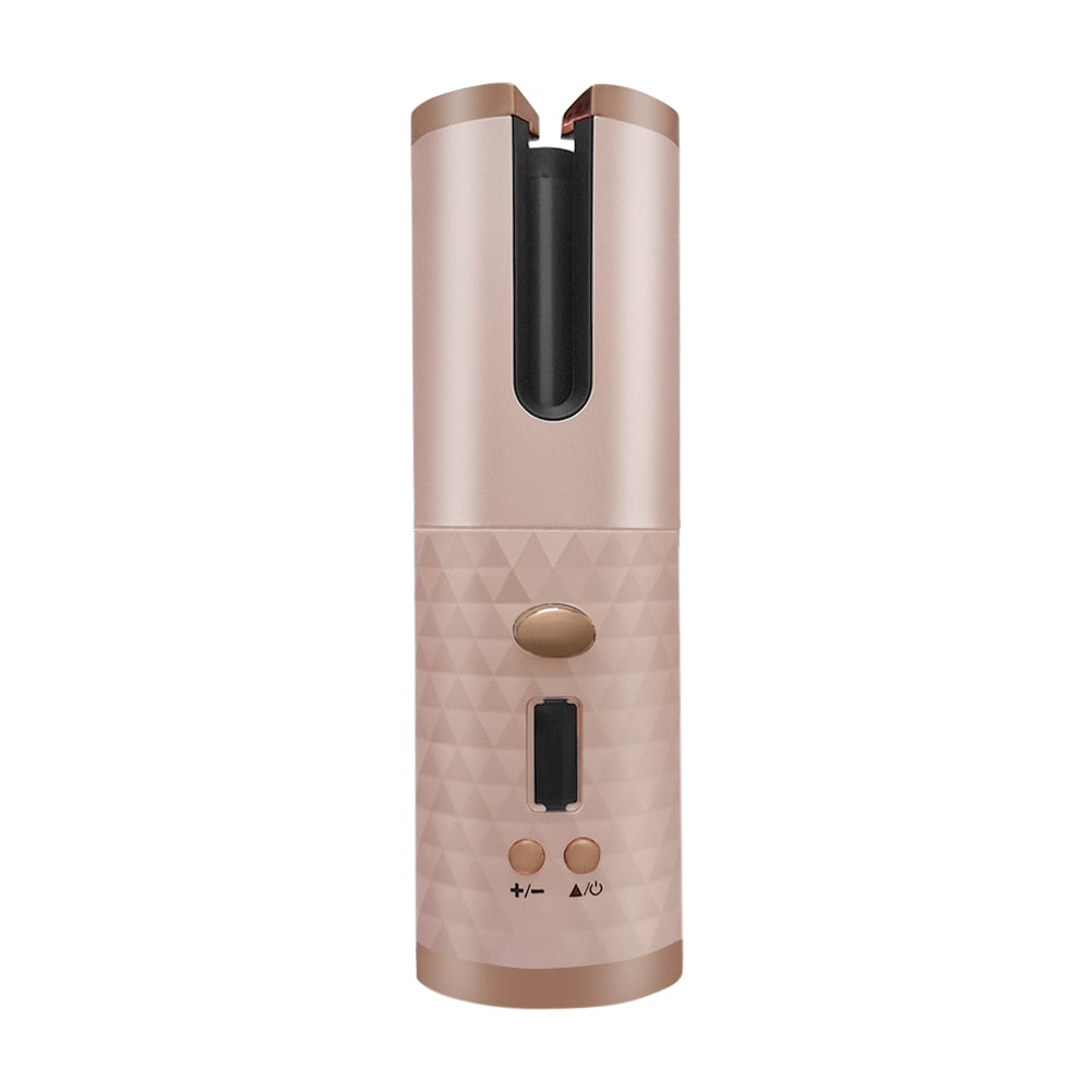 Portable Curling Iron Hair Curler Rechargeable Automatic LCD Display Machine