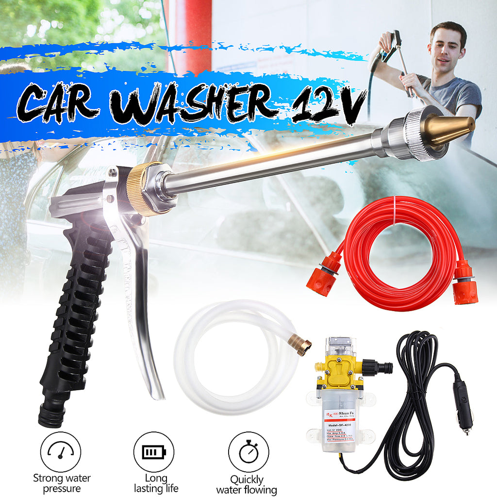 DC 12V 100W High Pressure Car Electric Washer Wash Pump Set Portable Auto Washing Machine Kit With USB Charger - JustgreenBox
