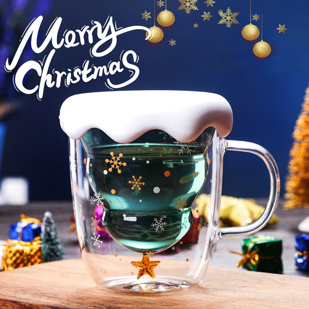 Creative 3D Transparent Double Anti-Scalding Glass Christmas Tree Star Coffee Milk Juice Cup - JustgreenBox