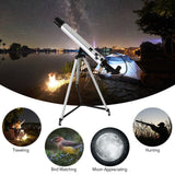 Outdoor 100X Zoom Telescope 600x50mm Refractive Space Astronomical Telescope Monocular Travel Spotting Scope with Tripod