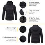 Unisex Outdoor USB Heating Coat Jacket Winter Flexible Electric Thermal Clothing Long Sleeves Fishing Hiking Warm Clothes