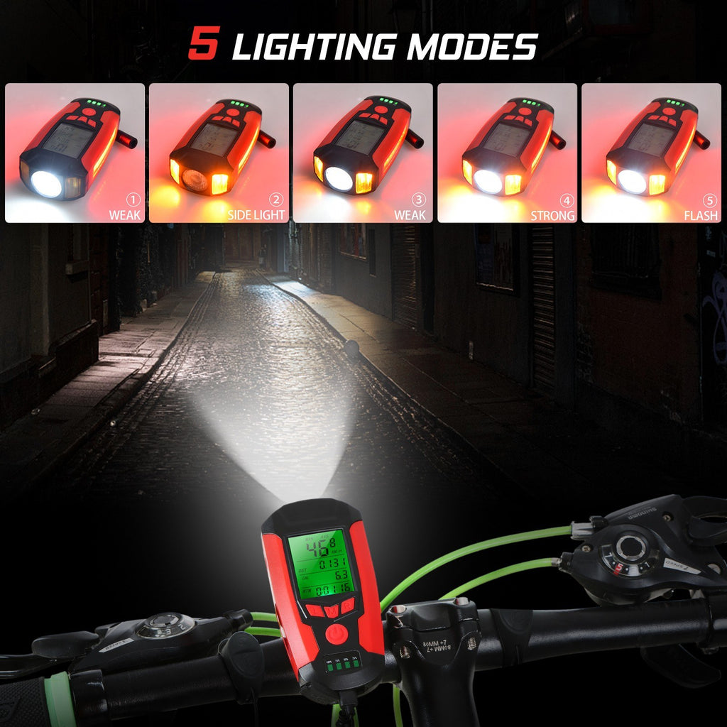Bicycle Lamp USB Front Bike Light Rechargeable Bicycle Headlight with Bicycle Speedometer