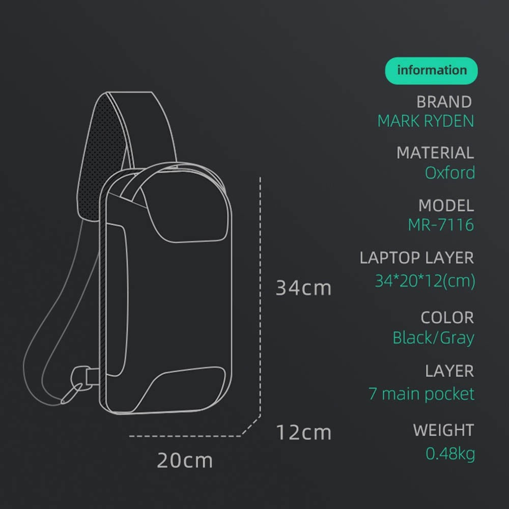 Man Chest Pack Multi-Function Business Style Anti-Theft Single Shoulder Pack