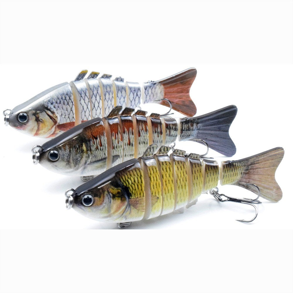 3.9in / 0.53oz Bionic Multi Jointed Hard Bait S Swimming Action Fishing Lure 7 Segment Sinking Fishing Lure VIB Bait Crankbait 3D Eyes Lifelike Artificial Fishing Lures Hook with Treble Hooks Tackle