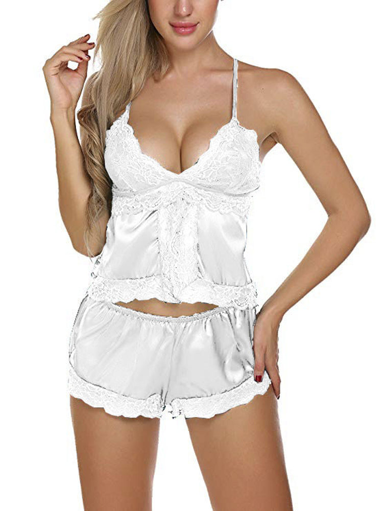 Lace Sling Top Shorts Sleeveless Soft Home Two-piece Pajamas