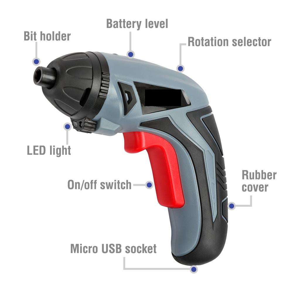 3.6V USB Cordless Electric Screwdriver Household Rechargeable Li-ion - JustgreenBox