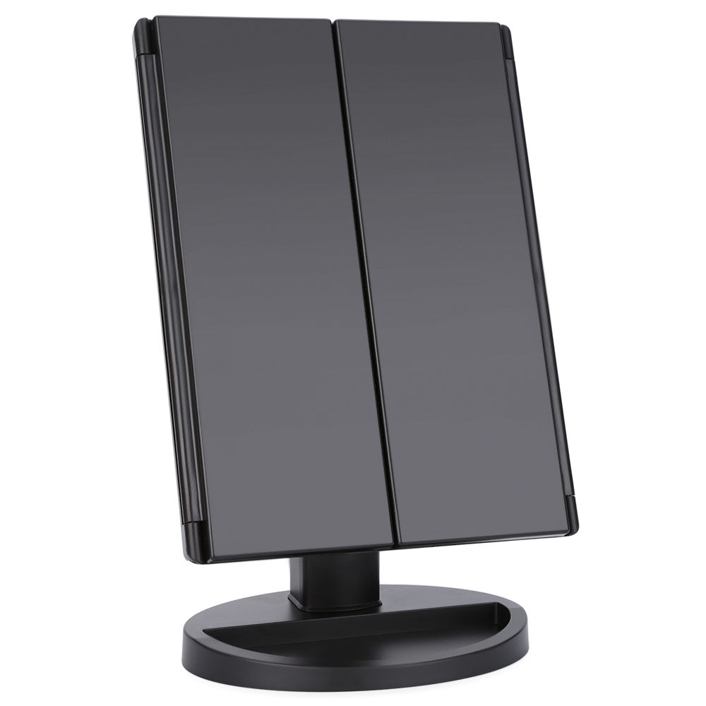 Portable Folding Table 16 LEDs Lamp Luminous Cosmetic Mirror (BLACK)