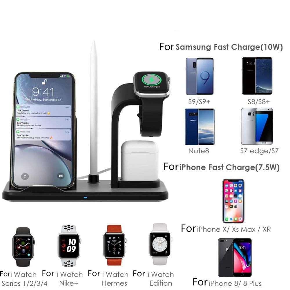 3 in 1 10W Qi Wireless Charger For iWatch 5 4 2 AirPods Fast Charging for Apple Watch iPhone 11 XS XR X 8 Samsung S10 S9 - JustgreenBox
