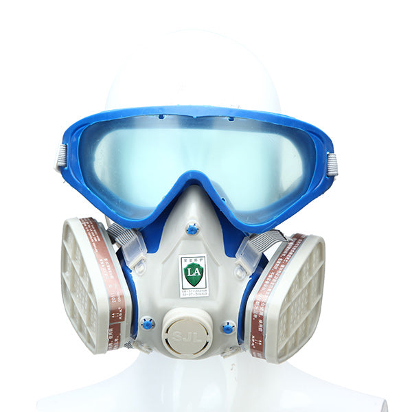 Silicone Full Face Respirator Gas Mask & Goggles Comprehensive Cover Paint Chemical Pesticide Mask Dustproof Fire Escape - JustgreenBox