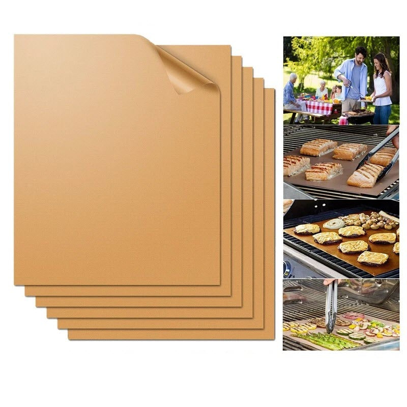 BBQ Grill Mat Non-stick Barbecue Baking Liners Reusable Cooking Sheets PTFE Bakeware Sheet Easy Clean - JustgreenBox