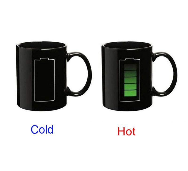 Creative Battery Magic Mug Positive Energy Color Changing Cup Ceramic Discoloration Coffee Tea Milk Mugs Novelty (Black) - JustgreenBox