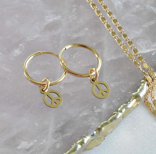 Tiny Peace Sign Hoops