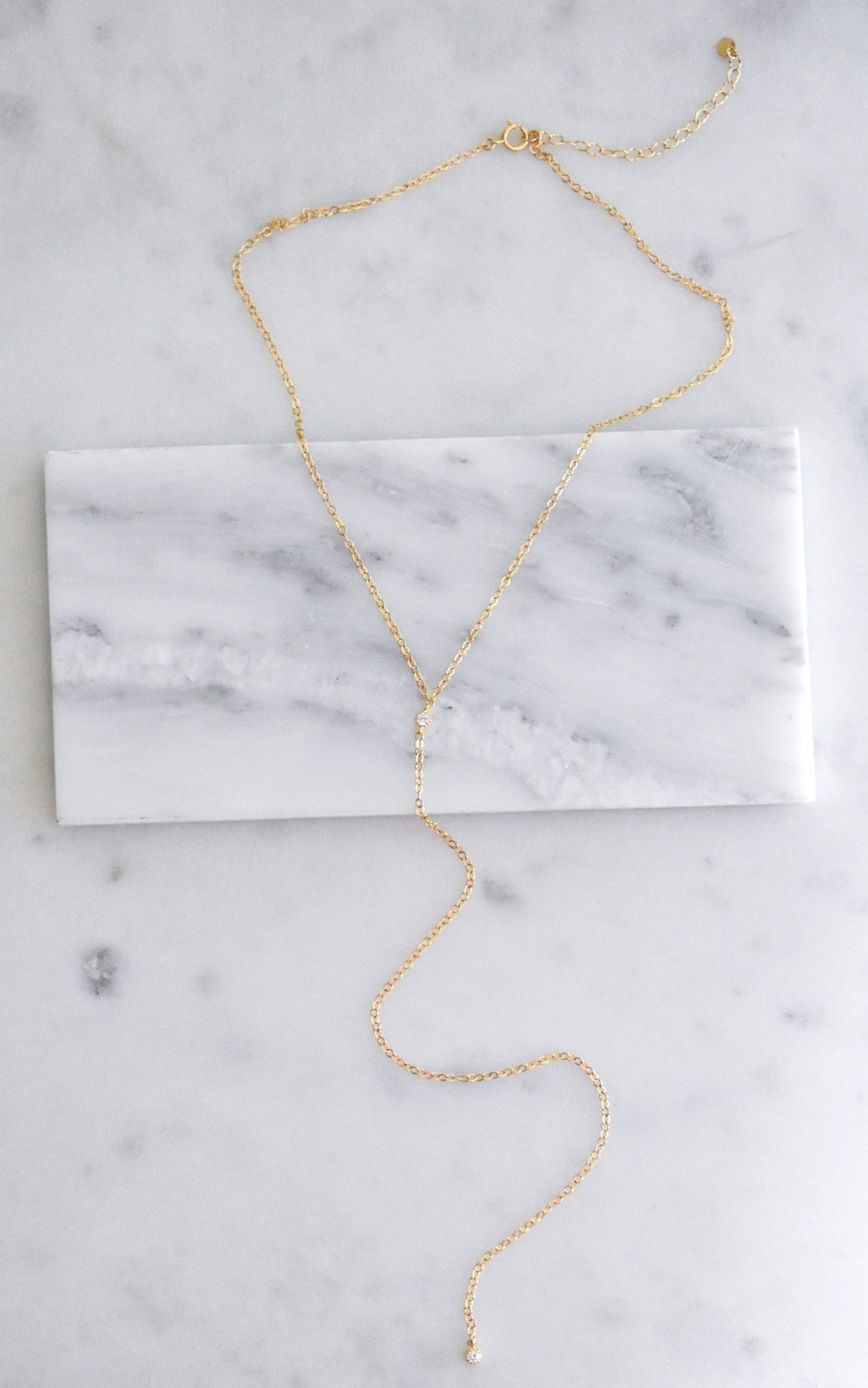 Y necklace, delicate lariat for everyday.