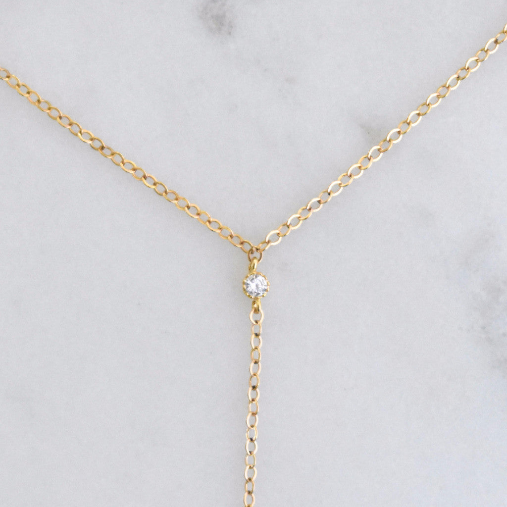 Stylish and sleek lariat. Delicate and simple Y necklace for layering.