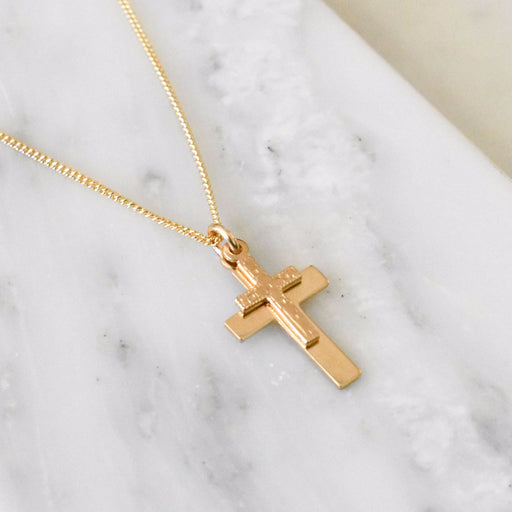 Gold filled jewelry. Gold cross necklace for layering.