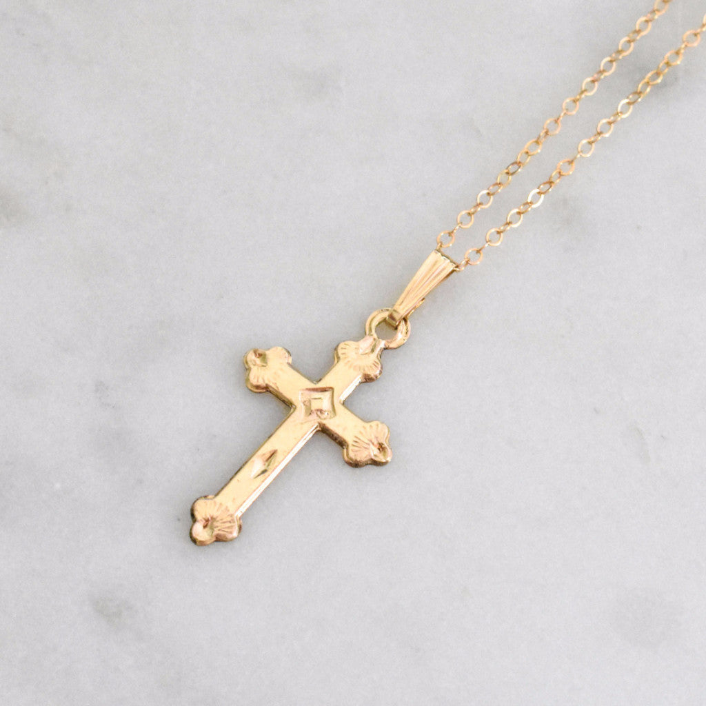 14k gold filled cross necklace. Everyday jewelry that's minimal and chic.