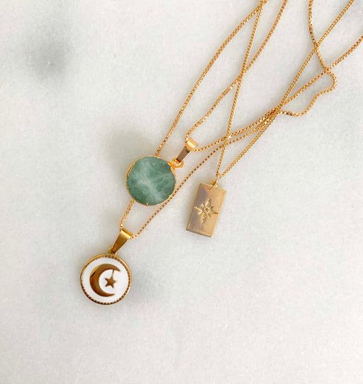 Green Druzy Charm Necklace