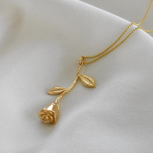 Gold rose stem pendant necklace. Bridesmaid necklace gifts.