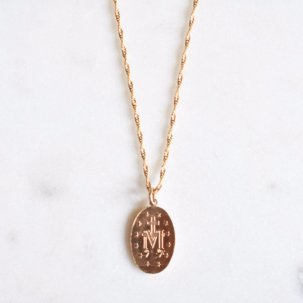Saint mary medallion necklace with a delicate rope chain. 14k Gold-filled Mary necklace