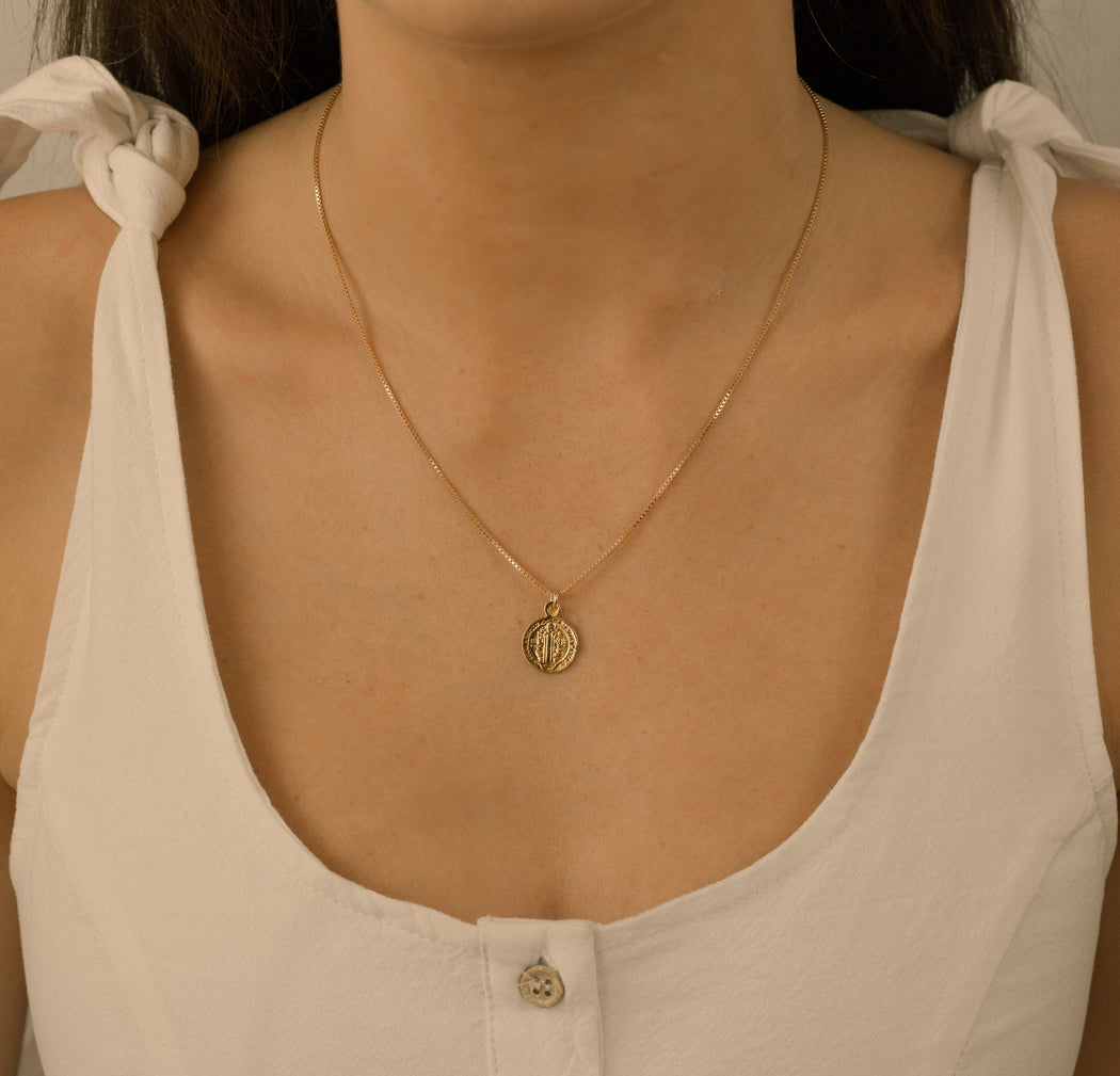 High quality gold-filled chain. Delicate religious gold jewelry.