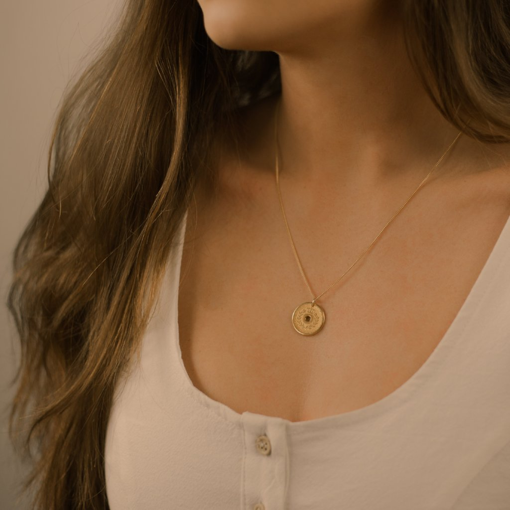 Greek coin necklace. Delicate greek vintage coin necklace. Chain is gold-filled.