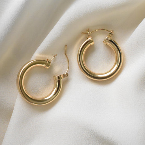 Gold Filled thick, chunky hoops. Medium gold filled hoops.