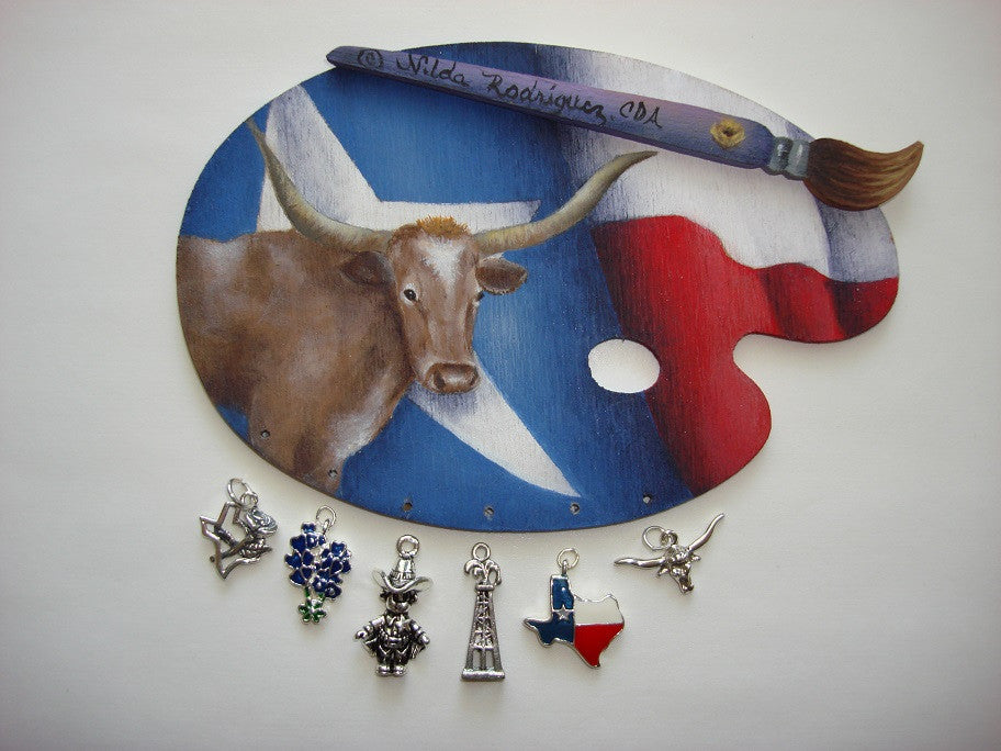 Texas Longhorn and Flag Pin
