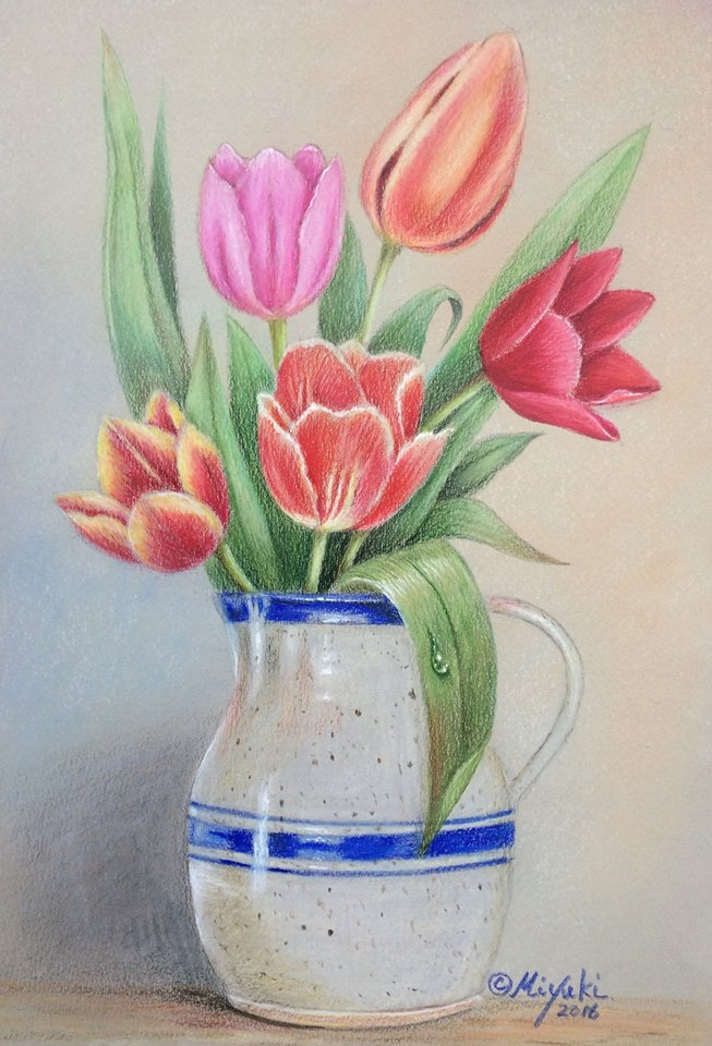 Favorite Vase Colored Pencils Online Class by Miyuki Nakano