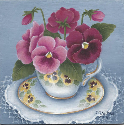 Pansies in a Tea Cup by Donna Hodson Acrylics Epacket