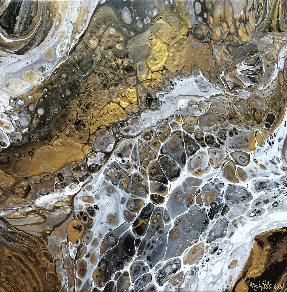 Gold Rush Fluid Acrylics Original Art