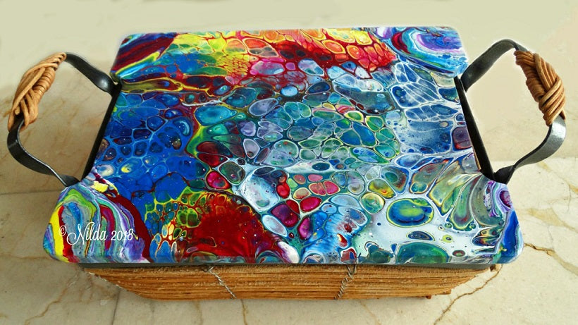 Dream in Color Fluid Acrylics One of a kind Basket