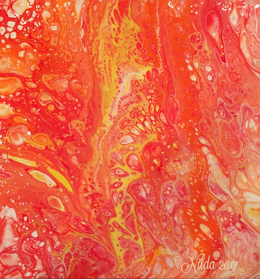 Yellow Orange Fluid Acrylics Original Art