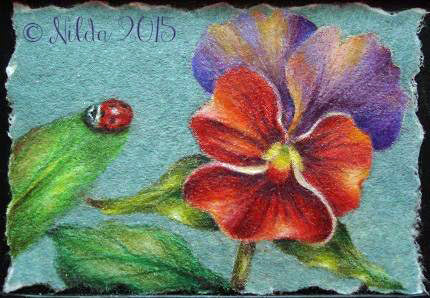 Red and Purple Pansy Colored Pencils e-packet by Nilda Rosa Rodriguez