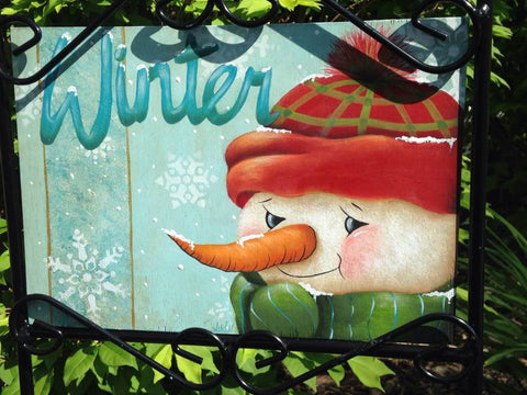 Winter Lawn Sign Acrylics Online Class by Judy Ribitch