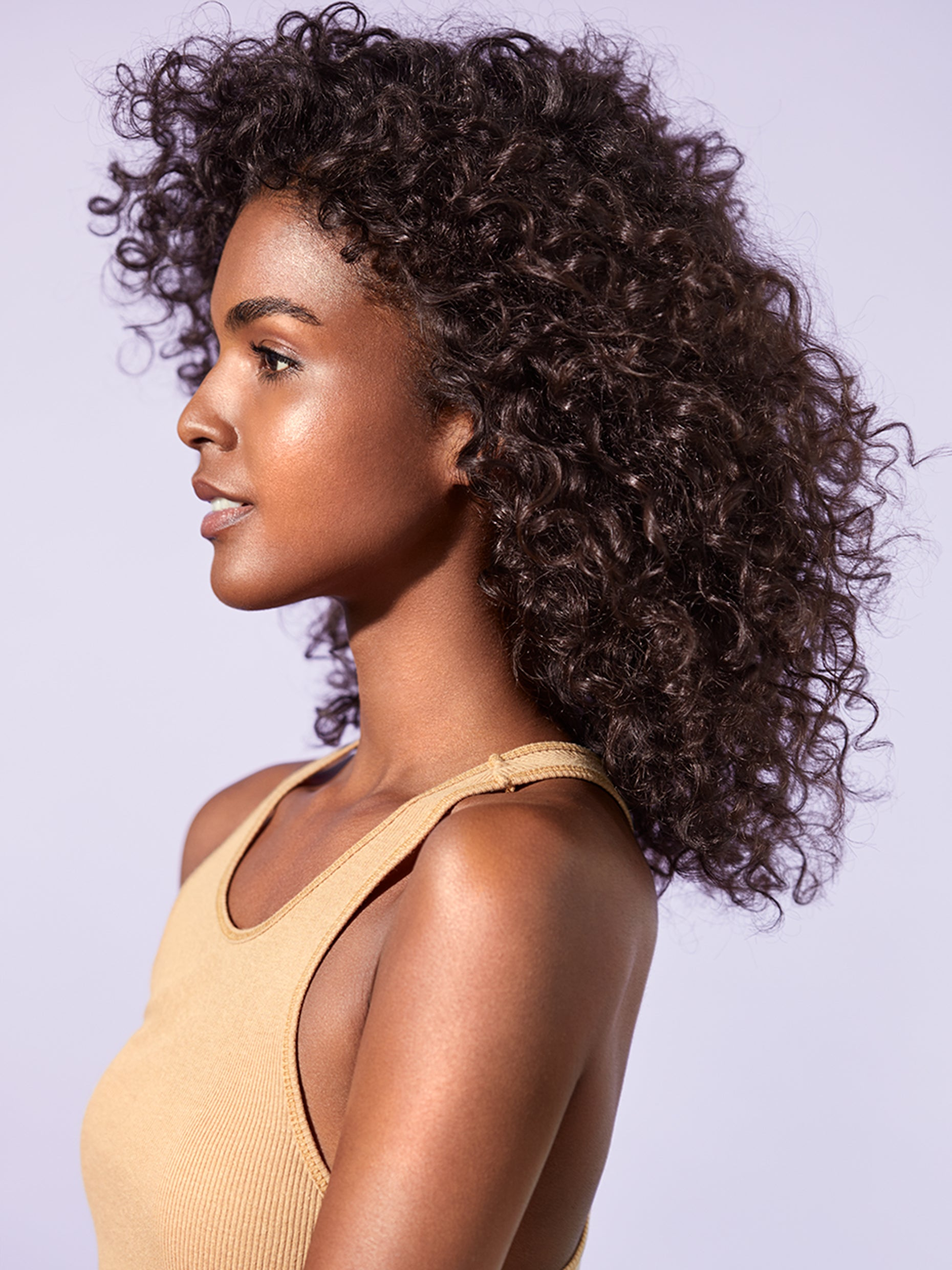 Side profile look of hair after product use