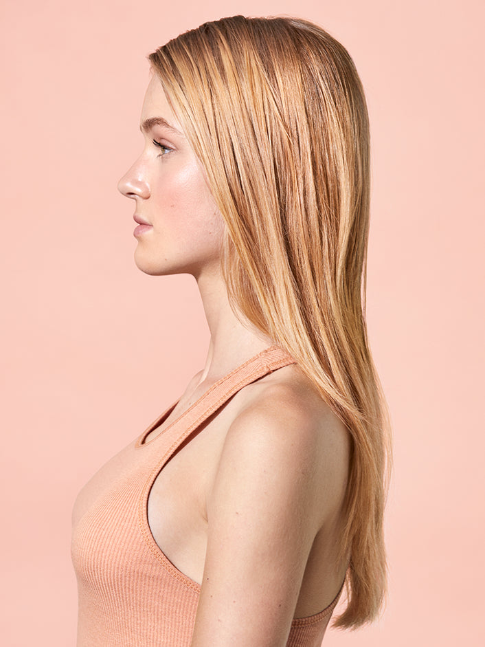 Side profile look of hair before product use