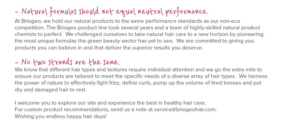 Our Story, Briogeo Hair Care