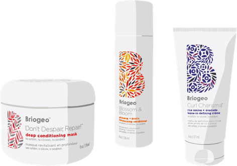 Briogeo Don't Despair Repair, Blossom & Bloom & Curl Charisma bottle illustrations